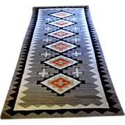 Exceptional size old Indian Navajo Regional rug runner w stepped diamond cross pattern 55x111