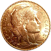 1907 Republic of France Rooster 20 Francs gold coin 6.4 gram