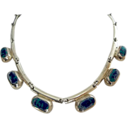 Beautiful Mexican modernist sterling silver Azurite chocker necklace from circa 1950's