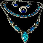 Beautiful Southwestern sterling silver blue fire opal necklace earrings bracelet ring set 5 pc