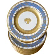 Set of 10 Gilt Jeweled Beaded Ornate Dinner Plates Service Chargers Hutschenreuther Selb ...