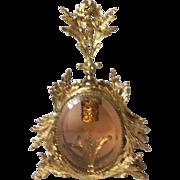 Rose Beveled Glass Ormolu Cherub Bird Vintage Vanity Perfume Bottle Complete