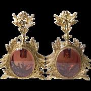 Pair of EXCELLENT Rose Peach Beveled Glass Ormolu Cherub Bird Vintage Vanity Perfume Bottles .