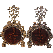 Matching Pair Ormolu Amber Beveled Glass Goddess Chariot Cherub Perfume Bottles Vintage Vanity