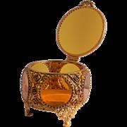 Ormolu Amber Beveled Glass Vanity Jewelry Casket Box Matson Rose Style
