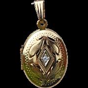 Lovely Vintage 10K Gold Locket Charm with Diamond