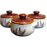 Country Road Vintage 1979 Soup Crocks with lids, set of 3