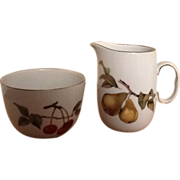 Royal Worcester Evesham Gold Sugar Bowl and Creamer