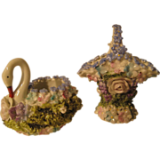 Elfin-ware delicate floral swan and basket group mid-century