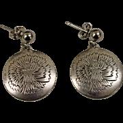 .925 Kirk Sterling Silver Floral Disc Earrings