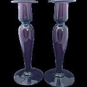 Pairpoint  Art Glass Amethyst Candlesticks