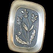 Vintage signed Rune Tennesmed Sweden Mid Century Pewter Flower Pin R Tenn Floral Brooch