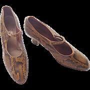 SALE Edwardian Snake Skin Shoes with Louis Heel