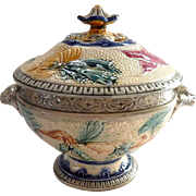 SALE Majolica Soup Tureen by Wasmuel Turn of the Century