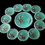SALE 11 Vintage Majolica Dessert Plates and Cake Plate Rare Set