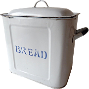 Vintage English Enamelled Bread Box c. 1940-50