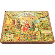 French Saussine Game World Atlas Picture Blocks Toy Puzzle