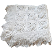 SALE Hand Crocheted French Vintage Bed Coverlet Flower Motif