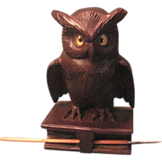 SOLD Vintage 19th Century Swiss Carved Owl Inkwell With Glass Eyes, Glass Ink Reservoir, Pen,