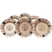 Antique English Polychrome Earthenware Six Dinner Plates