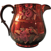Vintage English Copper Luster Pitcher With Hand Painted Enamel Floral Decoration