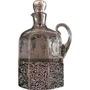 SALE Vintage Engraved Glass Decanter With Silver Mounts