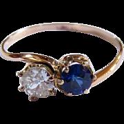 SALE Victorian 14 Karat Rose Gold, Diamond and Sapphire Ring