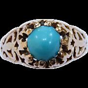 Victorian 18 Karat Yellow Gold Turquoise Ring