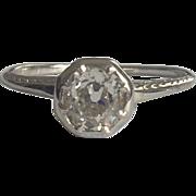 Hand Engraved Art Deco Diamond Engagement Ring