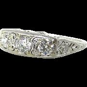 Edwardian Platinum Filigree Three Stone Diamond Ring