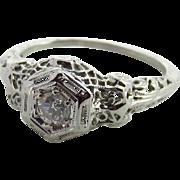 Art Deco 18K White Gold Filigree Diamond Ring