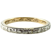 Art Deco 14K White and Yellow Gold Floral Embossed Band