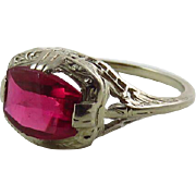 Art Deco 14K White Gold Filigree Synthetic Ruby Ring