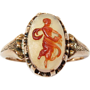SALE Victorian Rose Gold Full Body Cameo Ring