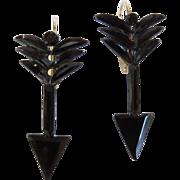 Victorian French Jet Arrow Earrings