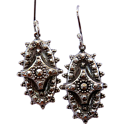 Victorian Sterling Silver Oval Drop Earrings
