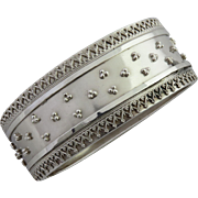 Victorian Sterling Silver Beaded Bangle Bracelet