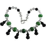 Vintage Jadeite Jade, Black Onyx and Crystal Necklace