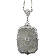 Art Deco 14K White Gold Filigree Rock Quartz Crystal and Diamond Necklace