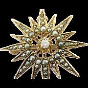 Victorian 14K Rose Gold Sunburst Seed Pearl & Old Mine-Cut Diamond Pin/Pendant