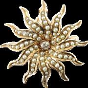 Victorian 14K Rose Gold Twelve Rayed Sunburst Seed Pearl & Old Mine-Cut Diamond Pin/Pendant