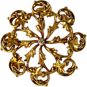 Victorian 14 Karat Yellow Gold Ivy & Diamond Circle Pin/Pendant