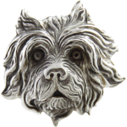 Victorian Sterling Silver Dog Hat Pin