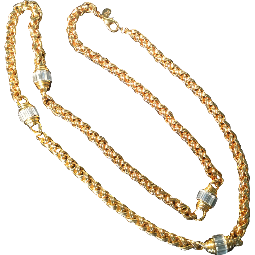 nolan miller goldtone rope chain necklace