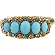 SOLD 20% DEPOSIT Victorian 5 Stone Turquoise and Diamond Halo Ring in 14k Yellow Gold