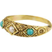 1875 Victorian 15k Yellow Gold Pearl and Turquoise Ring Engraved Floral Band Ring