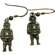 Rare Sterling Silver figural Arctic Explorer Earrings Eskimo Inuit