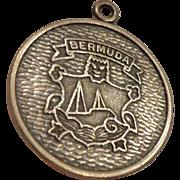 Large Vintage Sterling Bermuda Fob Pendant Bat Detailed