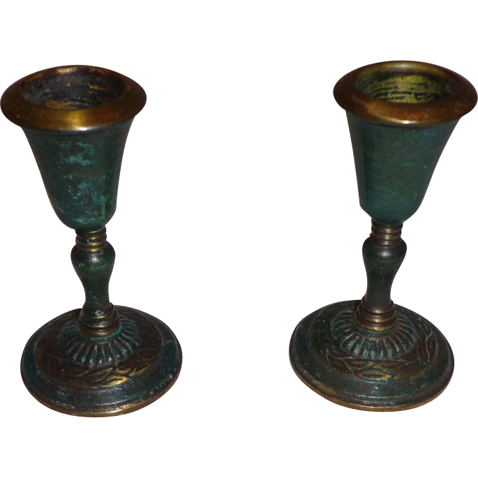 nice pair of sabra candle holders made in israel jewish