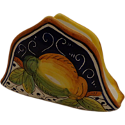 Vintage Italian Ceramic Napkin Holder Fratelli Mari Deruta Country Style Majolica